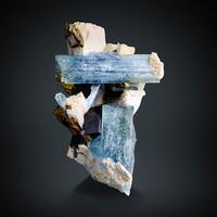 Aquamarine & Limonite Psm Siderite On Microcline