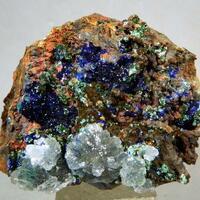 Azurite Aragonite Olivenite & Malachite