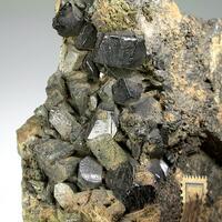 Andradite Var Melanite & Amphibole Supergroup Var Uralite