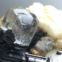 Aquamarine With Columbite & Feldspar