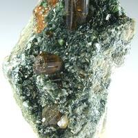 Vesuvianite On Garnet & Mica
