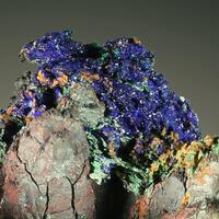 Azurite & Malachite Psm Gypsum On Goethite Psm Calcite