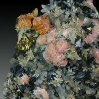 Rhodochrosite Chalcopyrite Sphalerite & Pyrite On Quartz