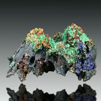 Malachite On Limonite Psm Goethite Psm Calcite With Calcite & Azurite Psm Gypsum