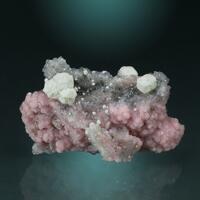 Rhodochrosite With Calcite On Quartz