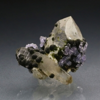 Fluorite With Muscovite On Quartz