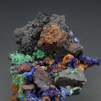 Azurite With Malachite Hematite & Aragonite