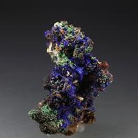Azurite Psm Gypsum On Limonite Psm Calcite