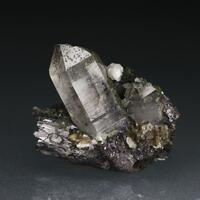 Quartz With Ferberite Chlorite & Fluorite