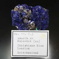 Azurite With Malachite & Calcite