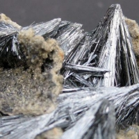 Stibnite With Jamesonite & Calcite