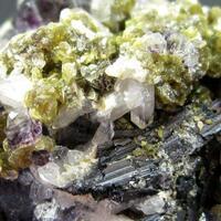 Wolframite Siderite & Fluorite On Quartz