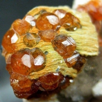 Spessartine On Smoky Quartz & Muscovite