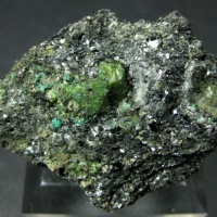 Cuprian Scheelite With Cuprotungstite On Biotite