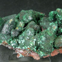Cuprian Adamite On Limonite Psm Calcite