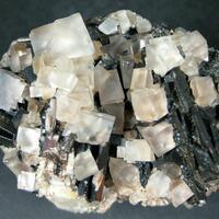 Fluorite On Baryte & Quartz With Goethite