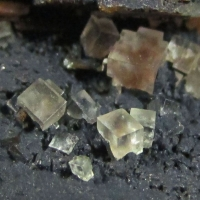 Fluorite On Psilomelane On Baryte