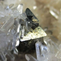 Tetrahedrite & Pyrite On Rock Crystal