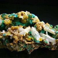 Wulfenite On Cerussite & Malachite