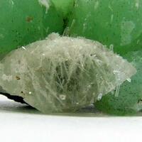Pectolite In Calcite On Prehnite
