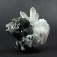 Calcite & Quartz On Magnetite