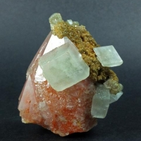 Calcite & Siderite On Hematite Inclusions In Quartz