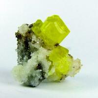 Sulphur On Aragonite & Bitumen