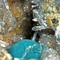 Rosasite & Hemimorphite On Quartz