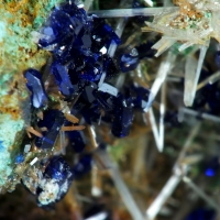 Azurite On Cerussite & Malachite