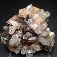 Calcite On Fluorite With Marcasite