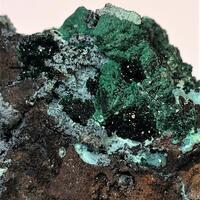 Libethenite With Chrysocolla On Goethite