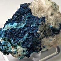 Shattuckite With Chrysocolla & Malachite On Calcite