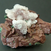 Selenite & Malachite On Dolomite