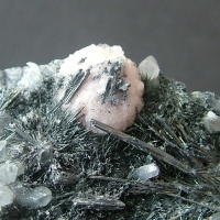 Stibnite With Rhodochrosite & Quartz