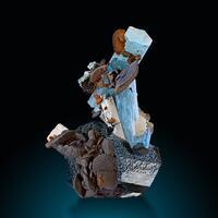 Aquamarine Siderite Feldspar Group & Schorl