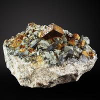 Helvine Smoky Quartz Pyrite & Spessartine