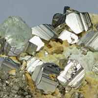 Fluorite On Pyrite & Dolomite