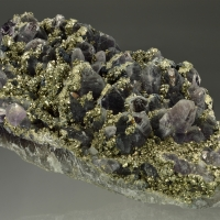Pyrite Chalcopyrite & Calcite On Amethyst