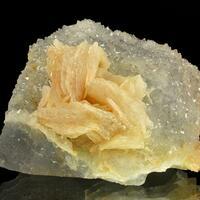 Baryte On Quartz On Fluorite