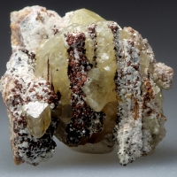 Cadmian Smithsonite On Native Copper