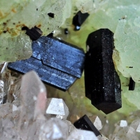 Babingtonite & Prehnite On Quartz