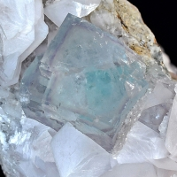 Fluorite On Manganoan Calcite