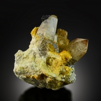 Citrine With Schorl On Muscovite