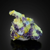 Fluorite On Baryte & Quartz