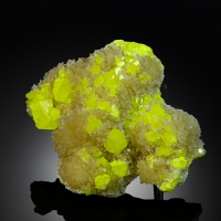 Native Sulphur With Calcite