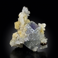 Fluorite With Calcite & Pyrite