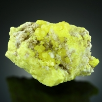 Native Sulphur On Aragonite