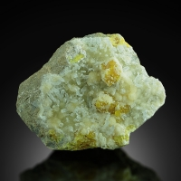Native Sulphur With Celestine On Aragonite