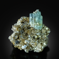 Aquamarine With Topaz On Smoky Quartz
