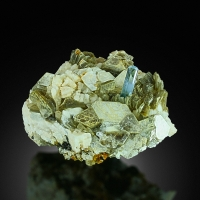 Aquamarine On Muscovite With Tourmaline